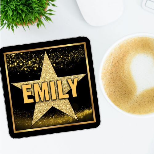 Personalised Any Name Star Sparkle Drinks Coaster  N1 - Birthday, Christmas  Gift